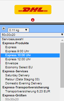 DHL-Express-DropDown