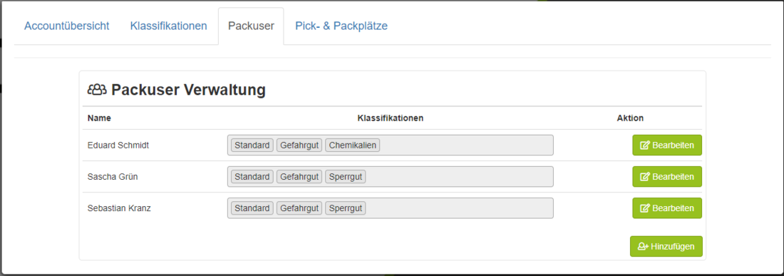Pick und Pack - User