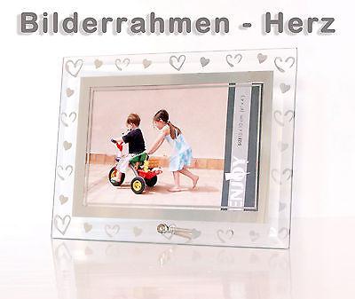 bilderrahmen aus geschliffenem glas mit herzen herz w hlbar f r 2 bildgr en ebay. Black Bedroom Furniture Sets. Home Design Ideas